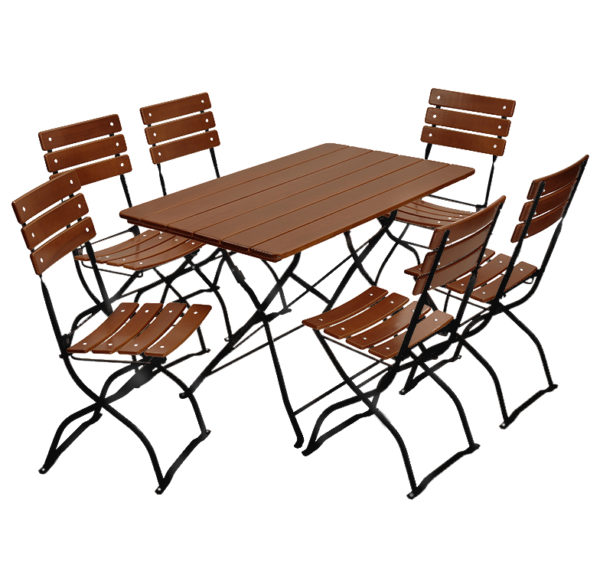 beer garden bistro tables chairs nut brown black frames