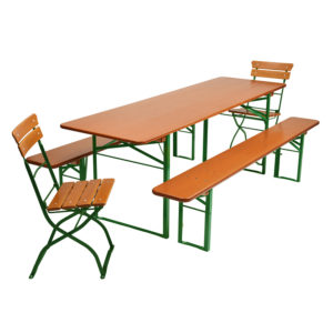 beer garden table bench chairs green