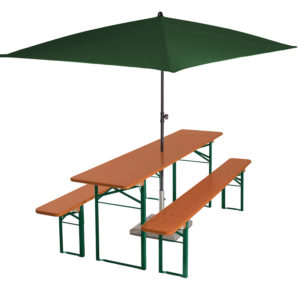 beer garden table bench umbrella