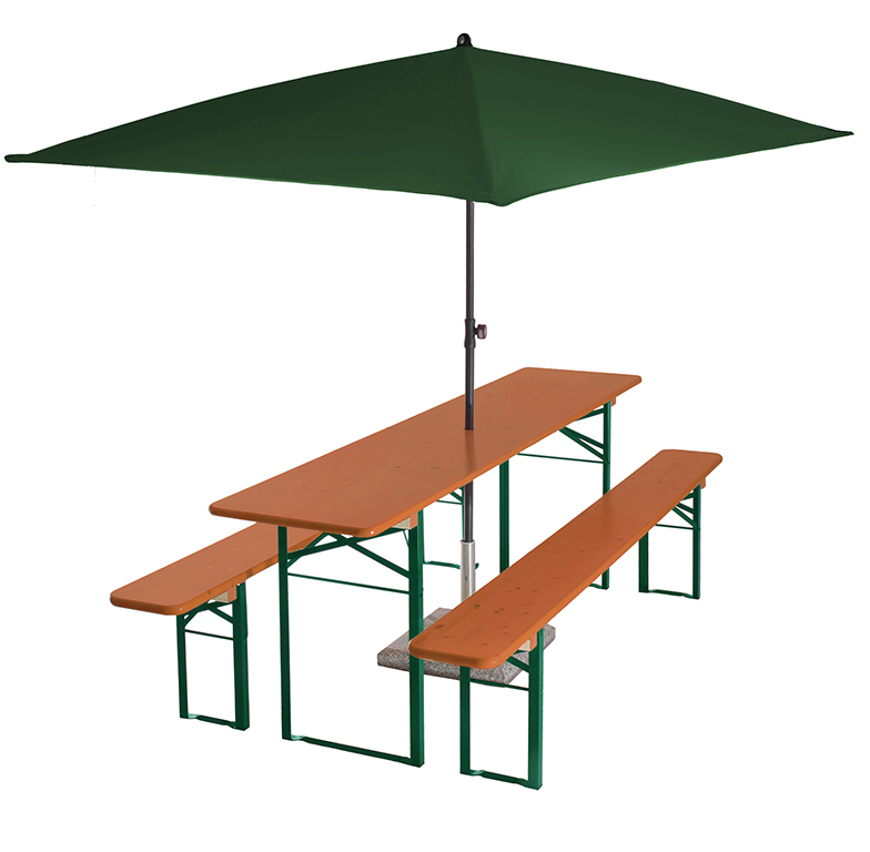 beer garden table bench umbrella