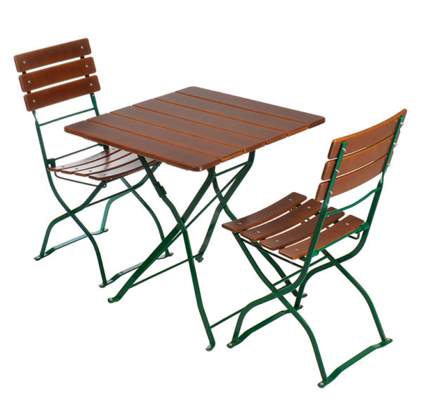Beer Garden Bistro Table 2 Chairs Nut Brown Green Frames
