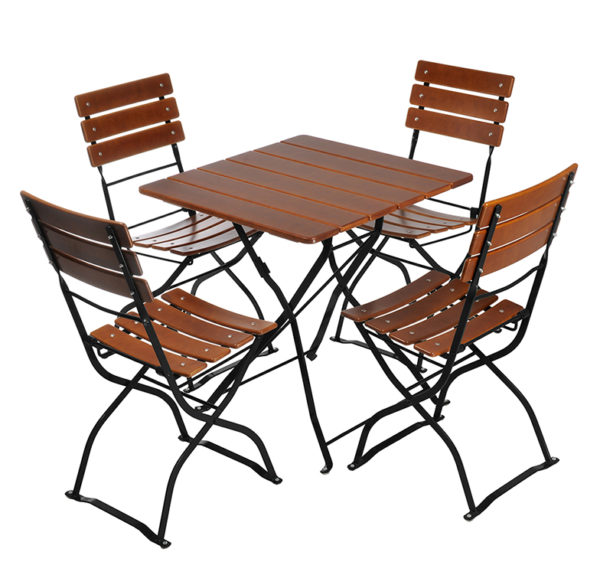 Beer Garden Bistro Table Chairs Nut Brown Black Frames