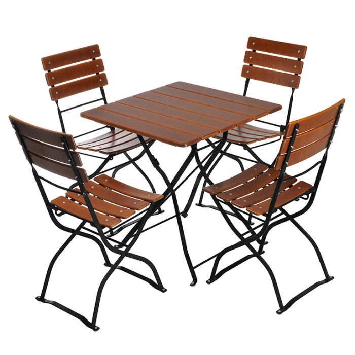 Beer Garden Bistro Table Chairs Nut Brown Black Frames