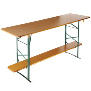 beer garden table bench bar height table