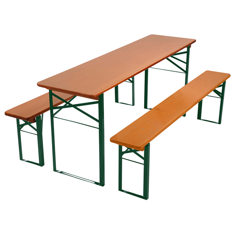 beer garden table bench nut brown green frames
