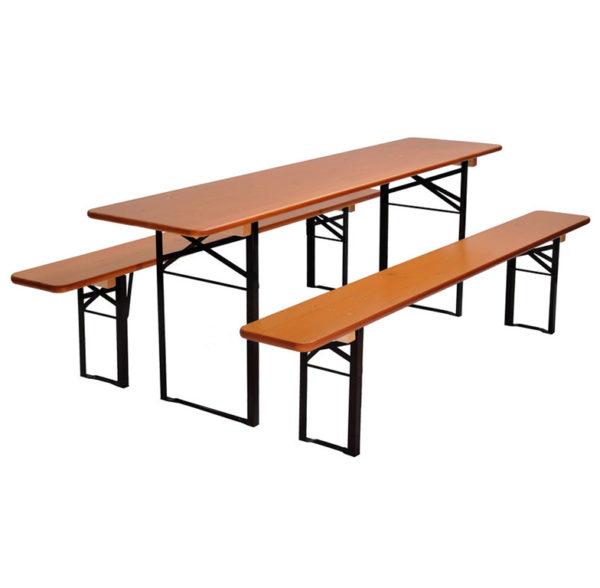 beer garden table bench nut brown black frames