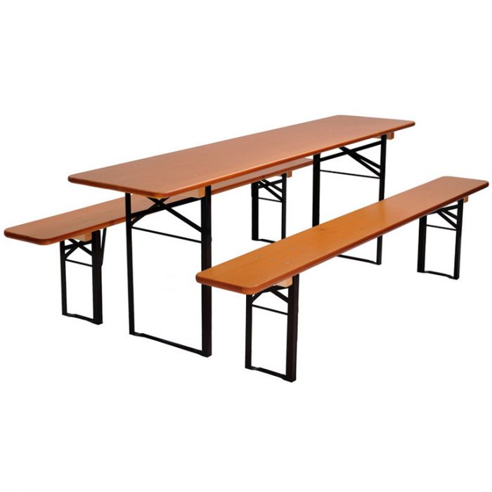 beer garden table bench nut brown black frames