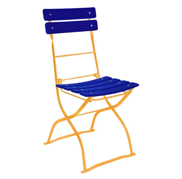 beer garden bistro chair blue orange