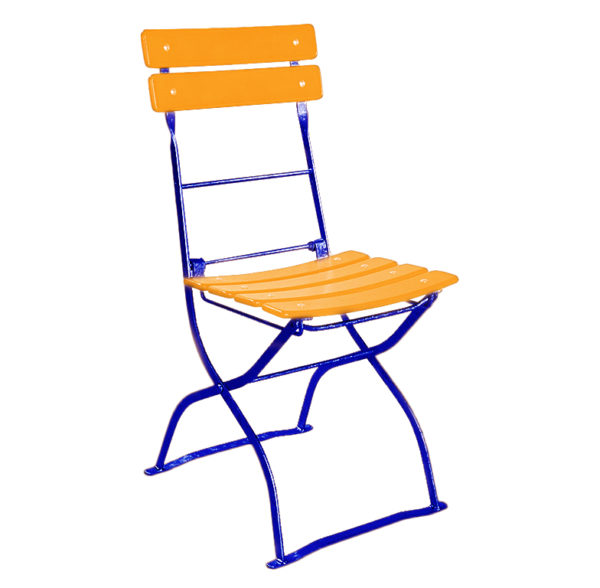 beer garden bistro chair orange blue frames