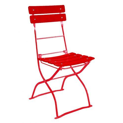 beer garden bistro chair two backrest slats red