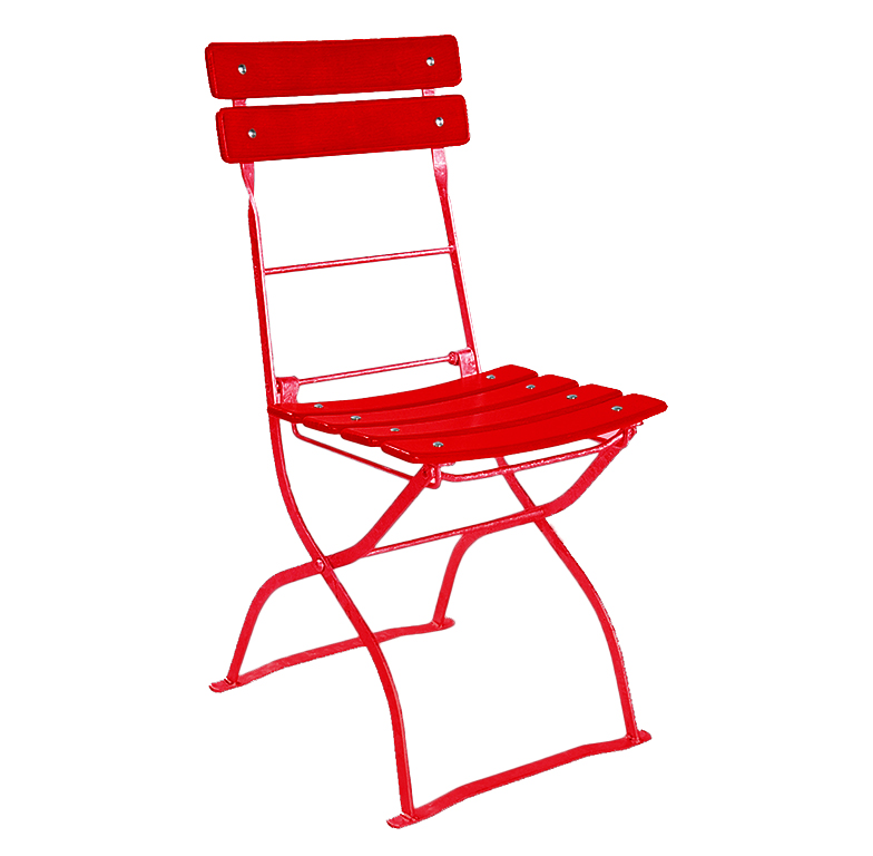 beer garden bistro chair two backrest slats red