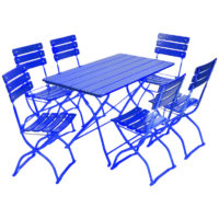 beer garden bistro rectangle table six chairs blue