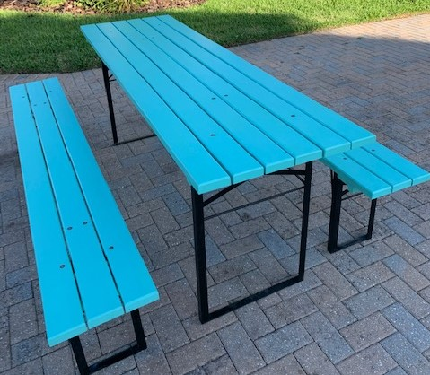 Table Benches Slatted Blue
